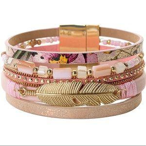 Jewelry - BOGO SALE Pink Boho Leather Wrap Bracelet Feather